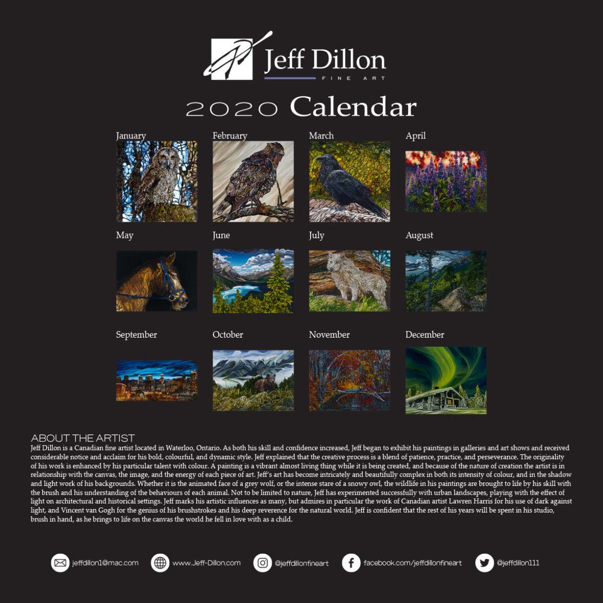 2020 calendar back