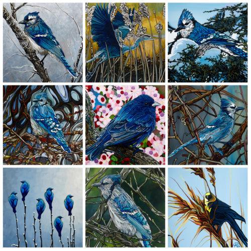 Collage Birds Blue Birds