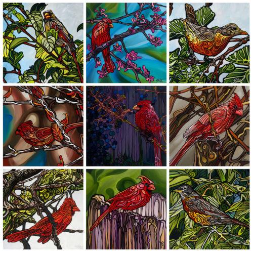 Collage Birds Red Birds
